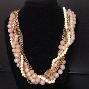 Peachy pink and gold necklace